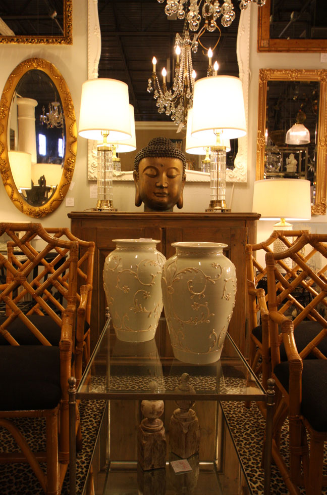 Yale Burge-style rattan chairs with bronze Buddha