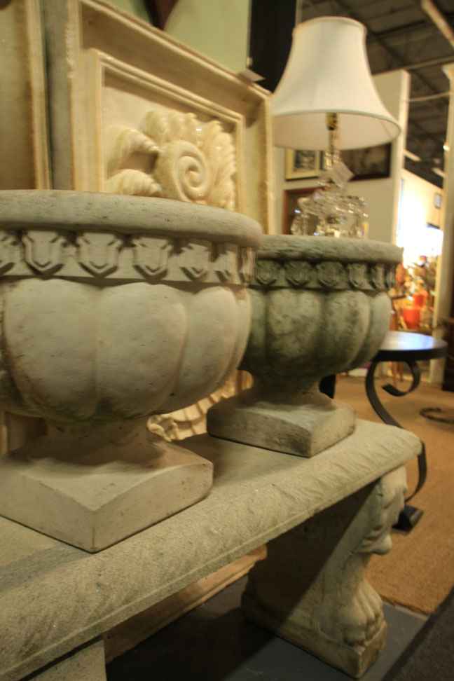 Hiden Galleries: Vintage concrete urns and bench