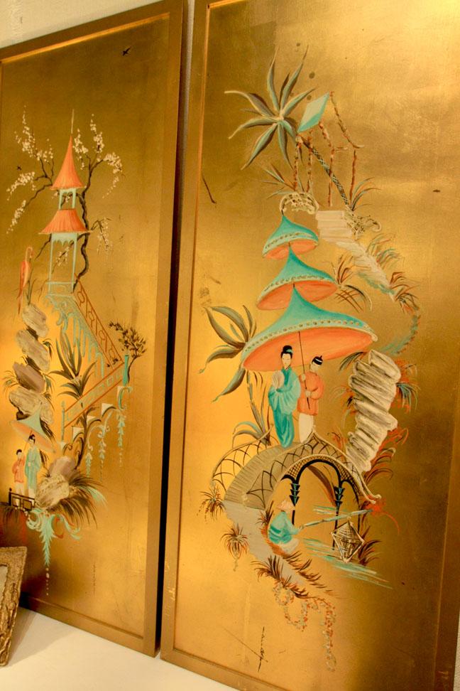 Aqua, coral & gilt panels