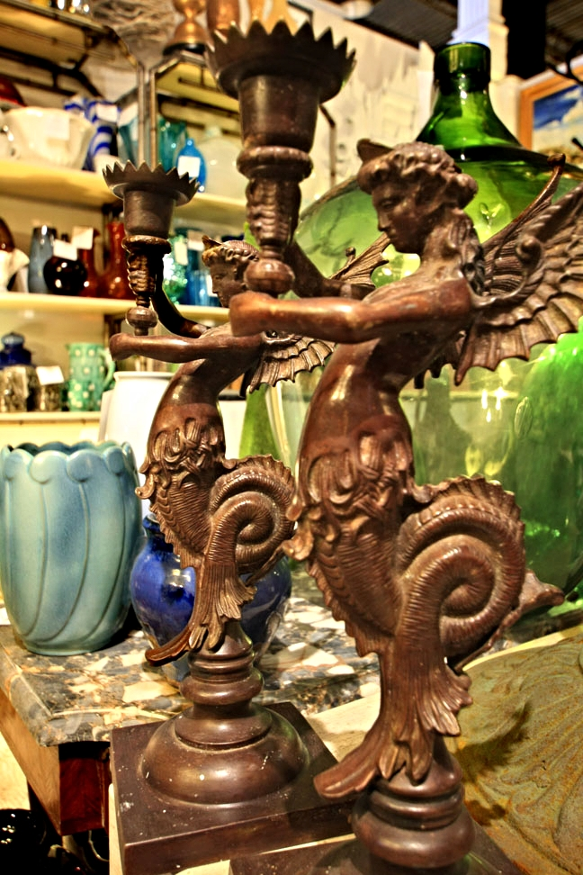 Mythical bronze candelabras