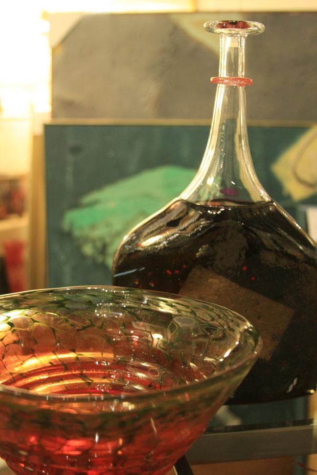 Kjell Engleman bowl, Kosta Boda bottle