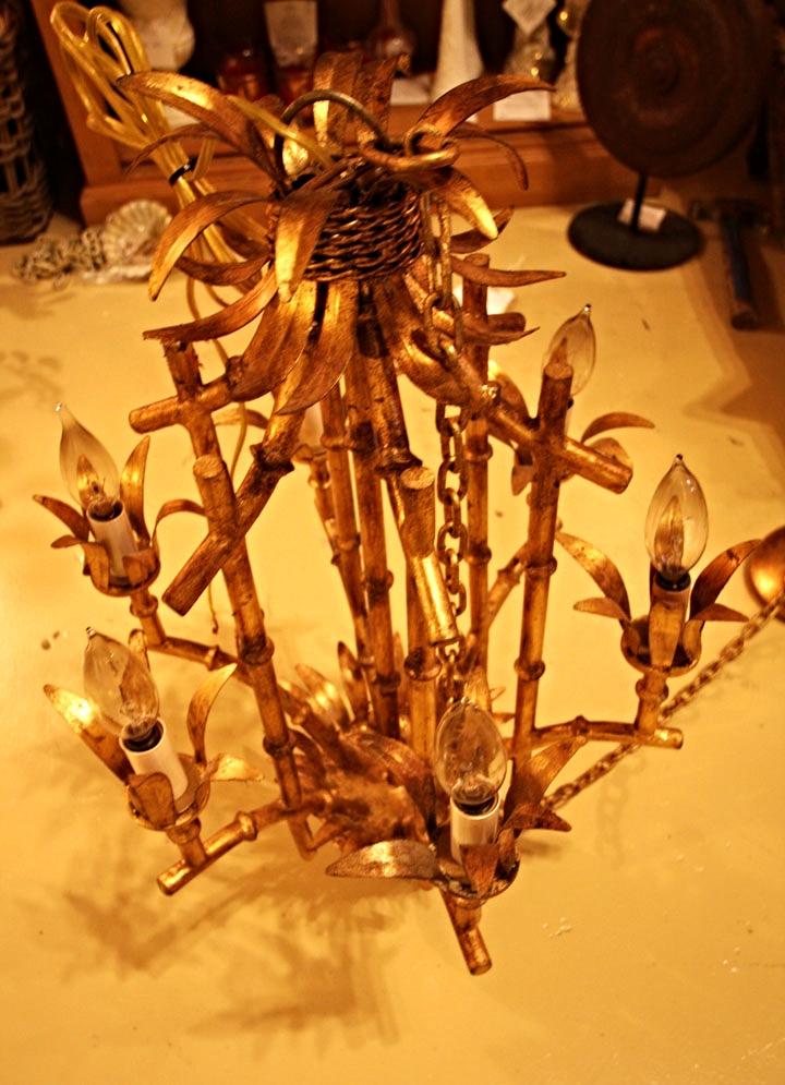 Hiden Galleries: gold leaf bamboo chandelier