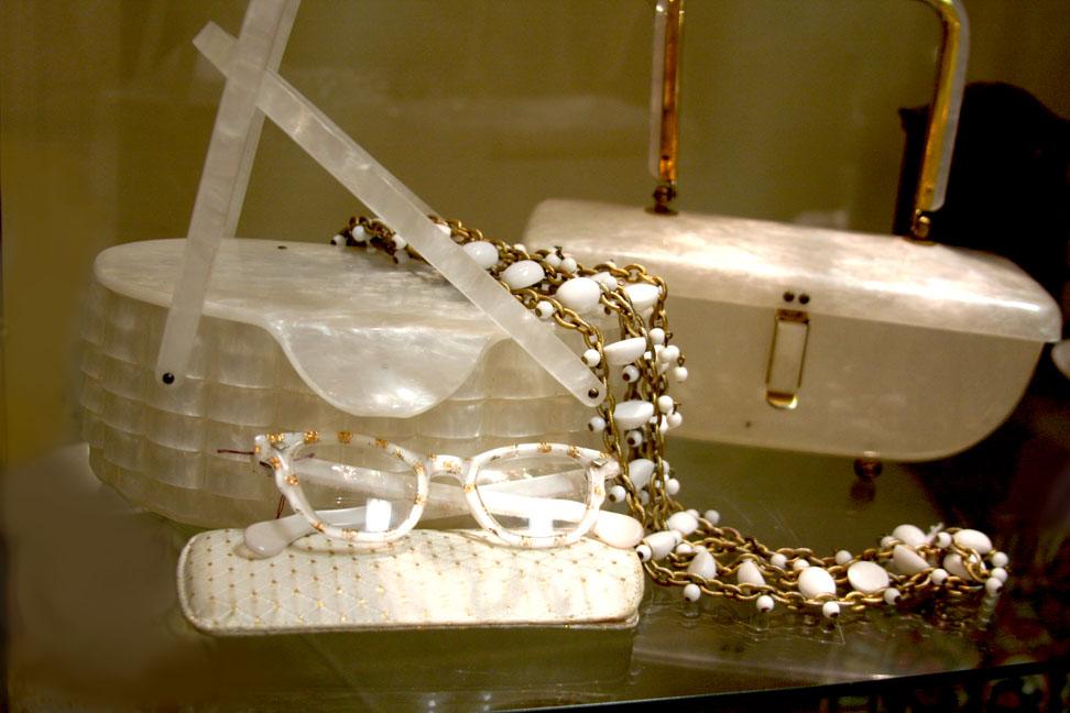 Hiden Galleries: late 50s white bags, 1980s white glitter sunglasses