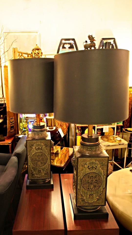 Mid-century Ming archaic style lamps