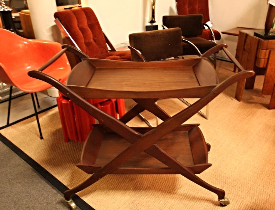 Hiden Galleries: mid-century walnut bar cart