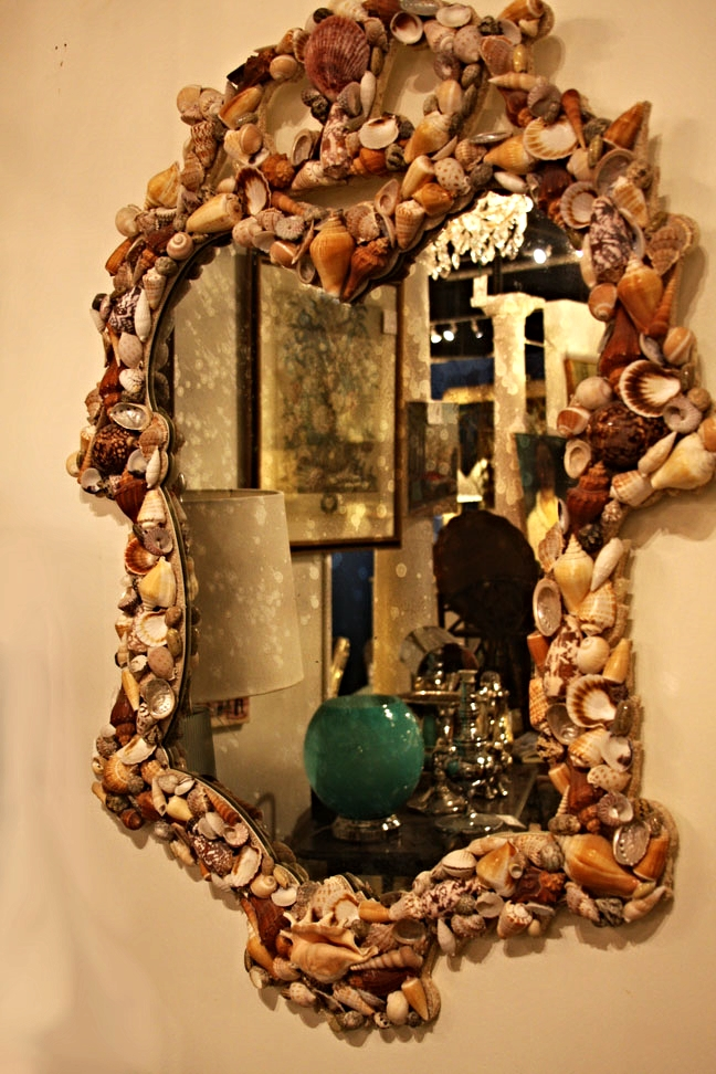 Antique shell mirror
