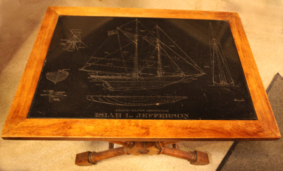 "Hiden Galleries: wood & slate table with ""Isaiah L. Jefferson"" etching"