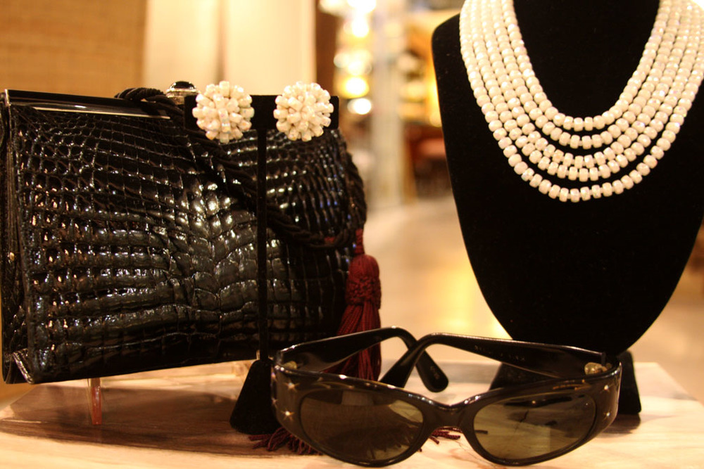 Hiden Galleries: vintage French sunglasses with vintage crocodile bag and pearls