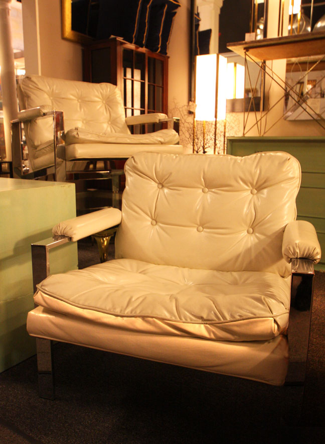 Hiden Galleries: vintage chrome and white patent armchairs