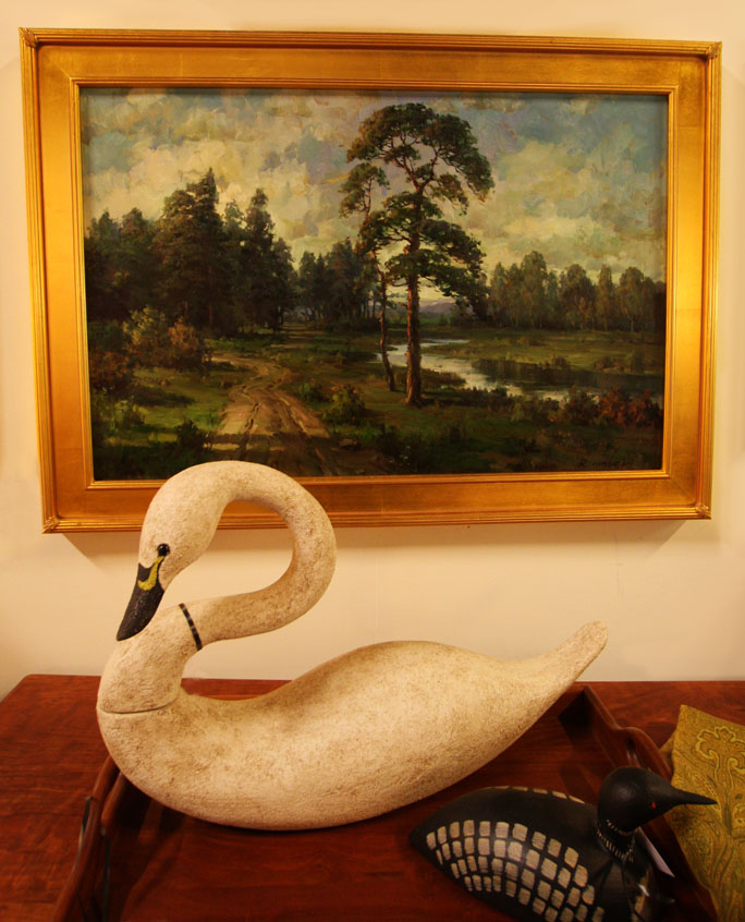 "Hiden Galleries: ""Maine Woods"" by R. Weber with handcrafted swan"