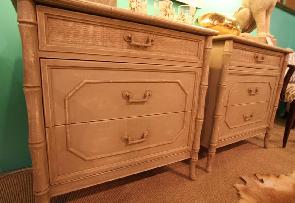 Hiden Galleries: pair of bamboo nightstands