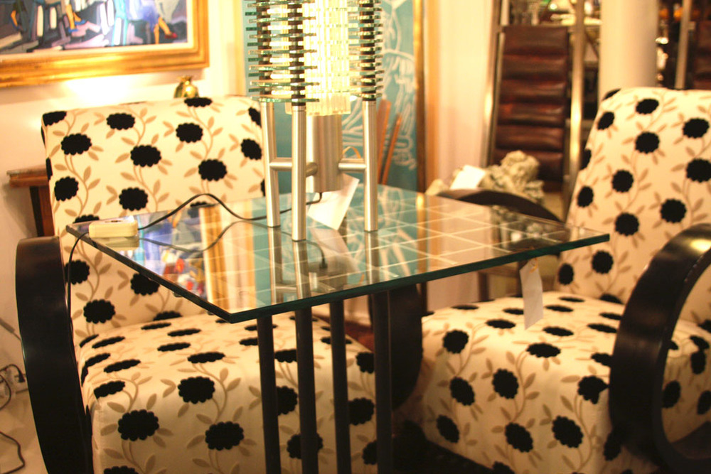 Hiden Galleries: pair of wooden armchairs by Andrew Martin
