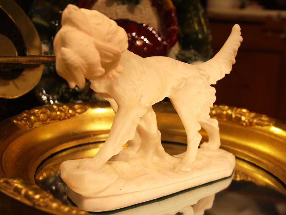 Hiden Galleries: early 20th-century salt hunt dog with game bird