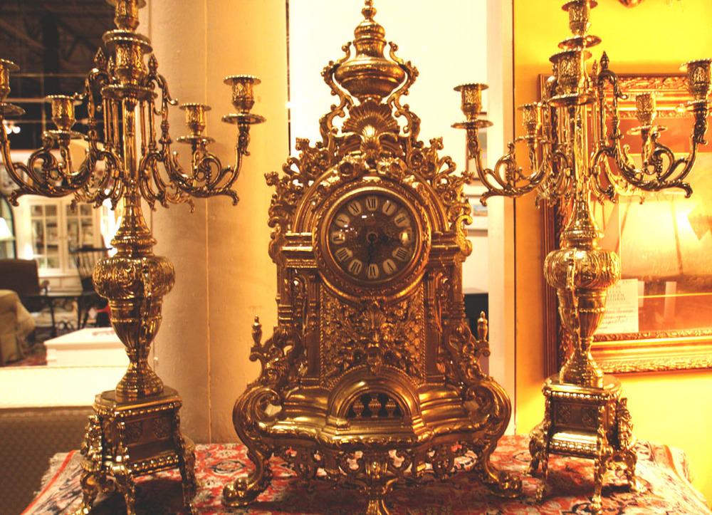Hiden Galleries: 3-pc gilded Italian mantel clock and candelabra