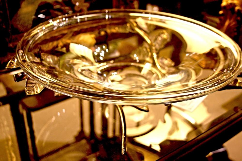 Hiden Galleries: crystal bowl on brass faux bois legs, c1930-40