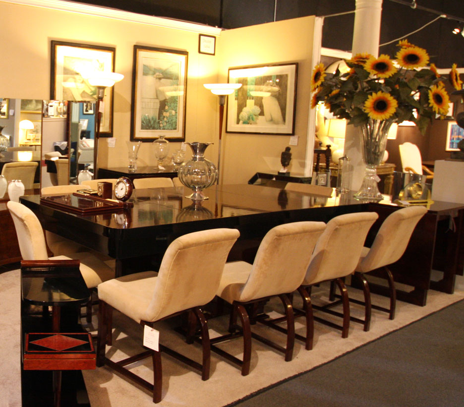 Hiden Galleries: mahogany Art Deco table and 10 Art Deco chairs