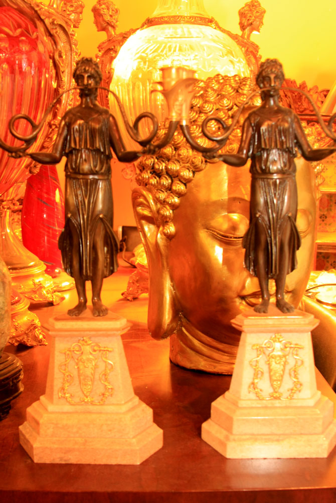 Hiden Galleries: pair of Empire-style candlesticks