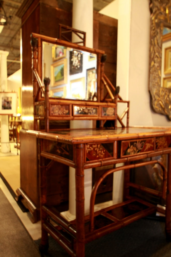 19th-century English bamboo desk by Oetzmann & Co., London