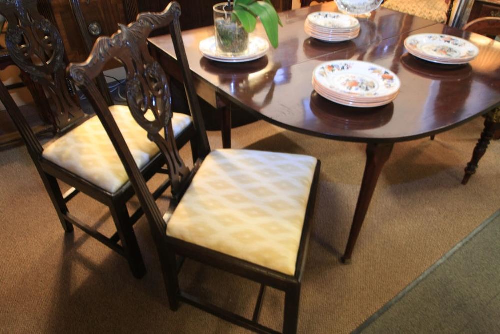 Pair of George III side chairs, c1820; George III mahogany drop leaf table, c1840