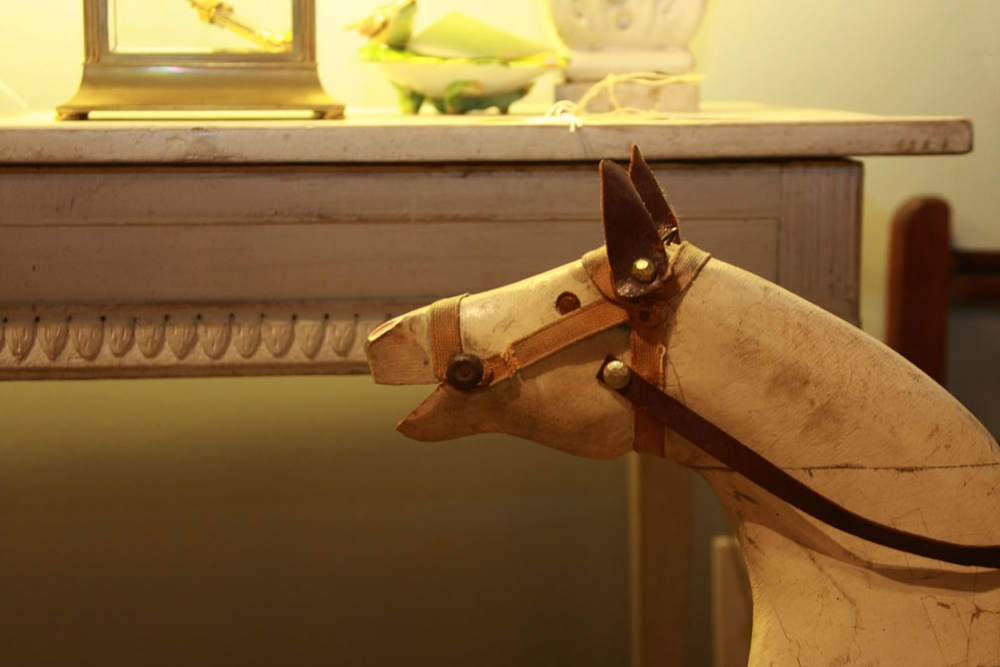c1865 Gustavian console from private sale in Stockholm; American glider horse, c1895