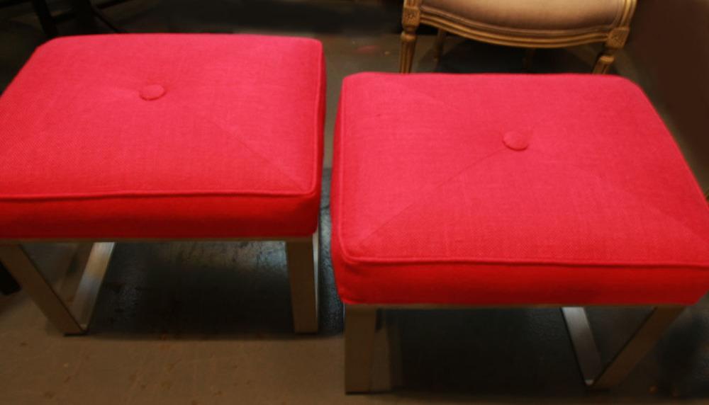Hiden Galleries: Milo Baugham-style benches in fuschia burlap