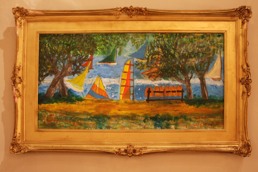 """Hiden Galleries: """"Waterscape with Sailboat"""", signed oil on canvas"""