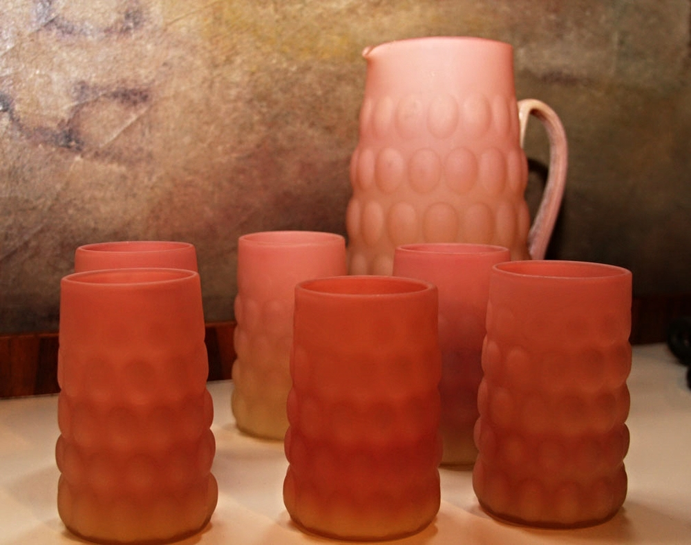 Hiden Galleries: Hand-blown KB Italian glassware set, mid-century