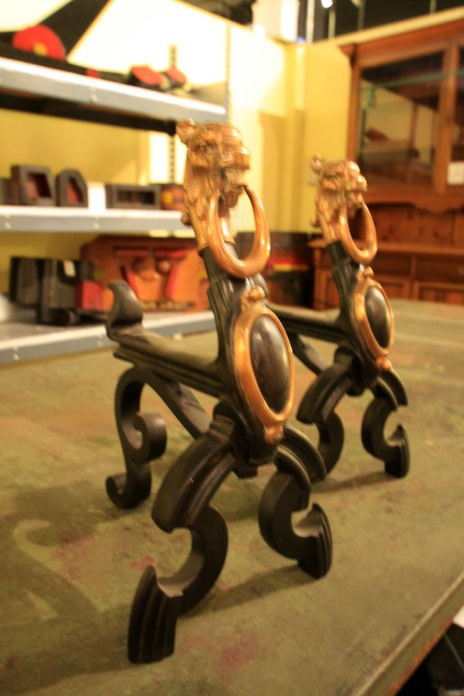 Hiden Galleries: pair of unusual andirons