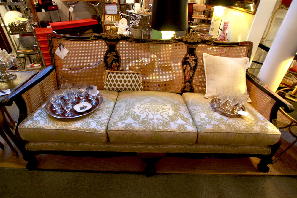 Hiden Galleries: antique Regency sofa with Chinoiserie scenes and claw feet