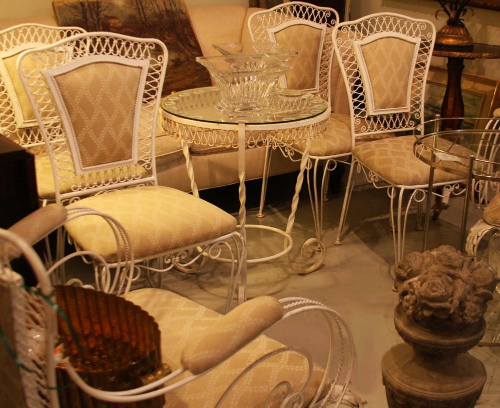 Hiden Galleries: vintage wrought iron garden seating