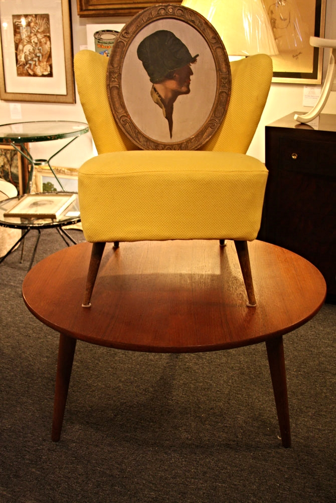 Hiden Galleries: c1920-30 French portrait on 1950s canary yellow slipper chair on a c1950s Hans Wegner for Andreas Tuck Danish table