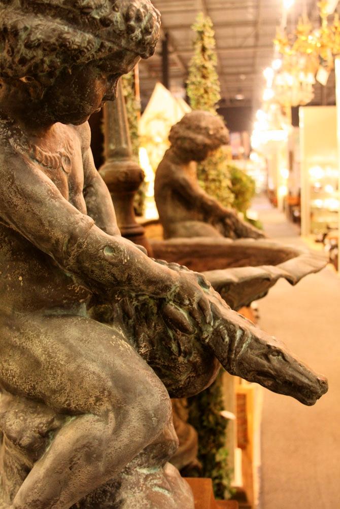 "Hiden Galleries: pair of garden statuary ""Boy with Crocodile"""