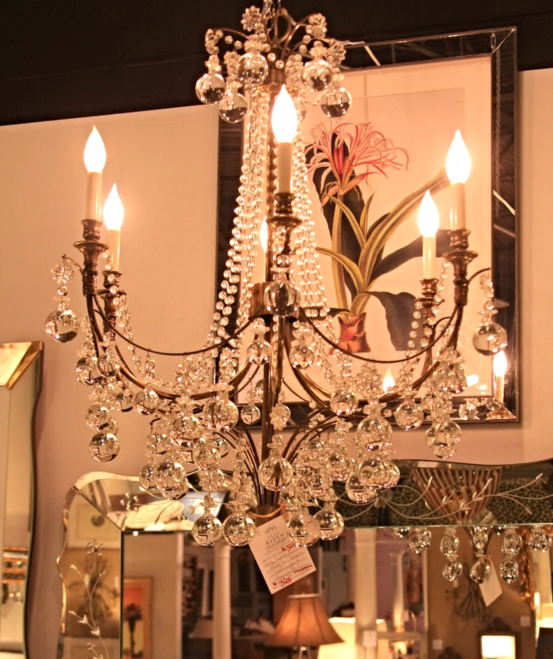 Hiden Galleries: very unique 1920s brass and crystal chandelier