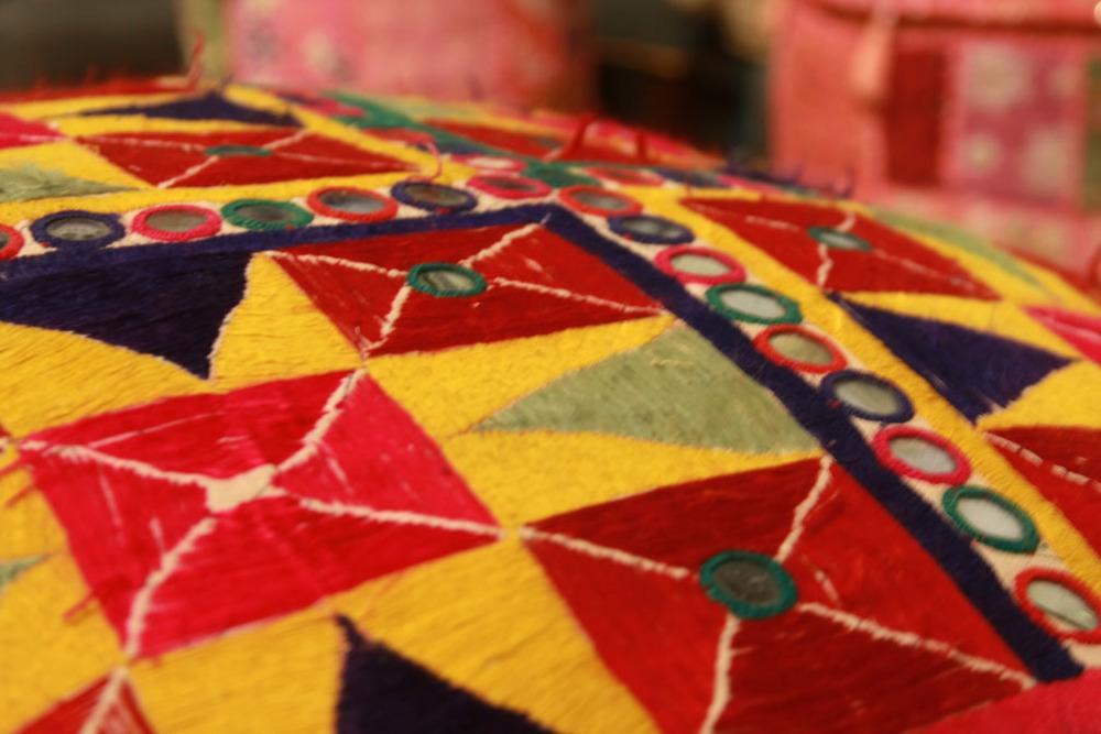 Hiden Galleries: floor pillow from antique Indian textiles