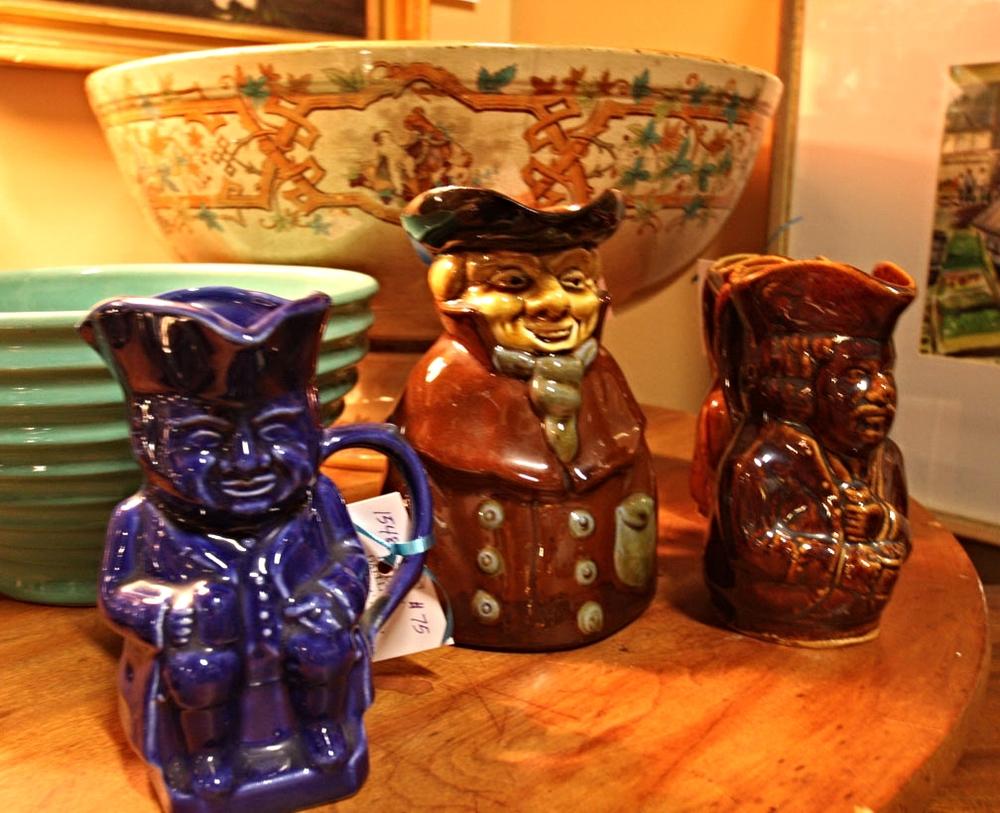 Hiden Galleries: antique Staffordshire Toby mugs with Rockingham transferware
