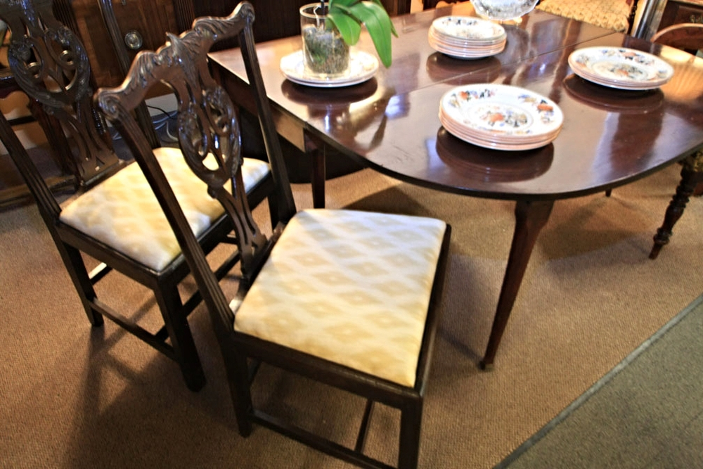 Hiden Galleries: pair of George III chairs, c1820, with dropleaf table, c1840