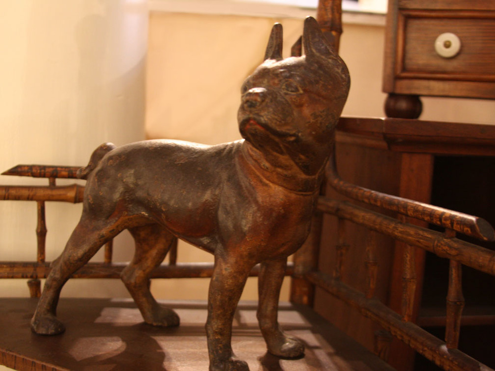 Hiden Galleries: c1860 cast French bulldog on bamboo corner stand