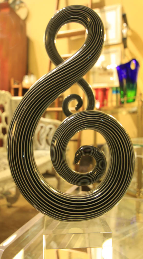 Hiden Galleries: signed Murano treble clef on Lucite