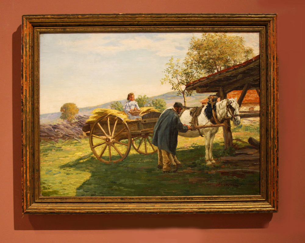 "Hiden Galleries: ""Hay Cart with Young Girl"" signed oil painting"