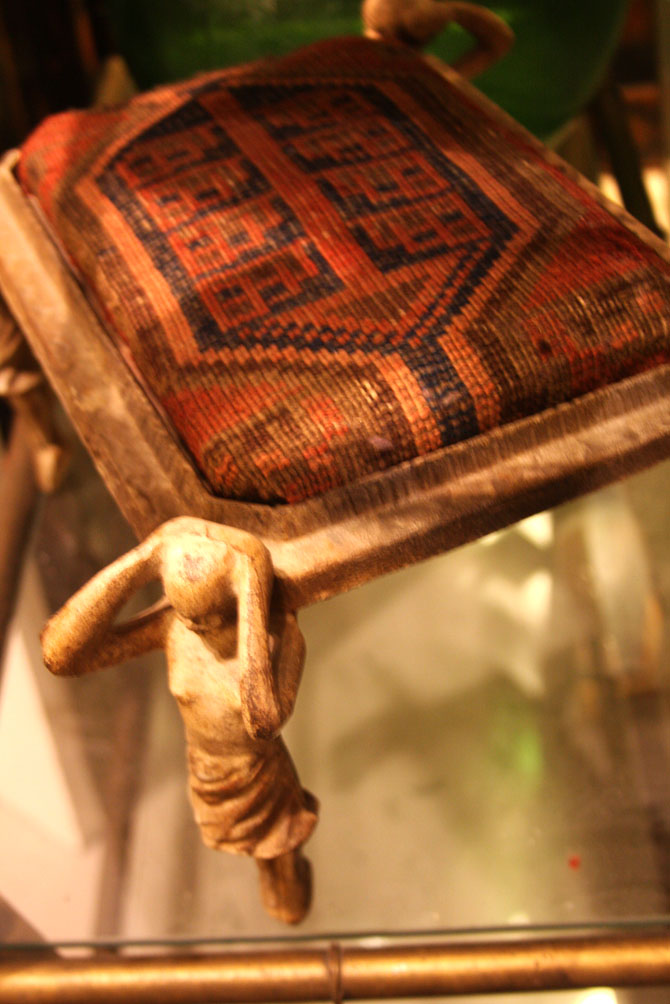Hiden Galleries: iron maidens footstool with vintage carpet seat