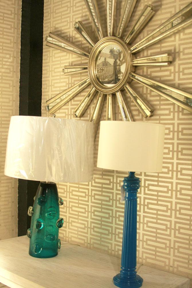 Hiden Galleries: Deco cerulean glass lamp, antique silver sundial mirror and column lamp in cerulean