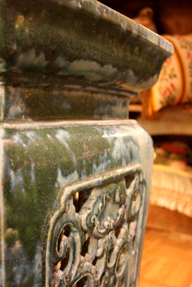 Hiden Galleries: antique garden stool with wonderful coloration