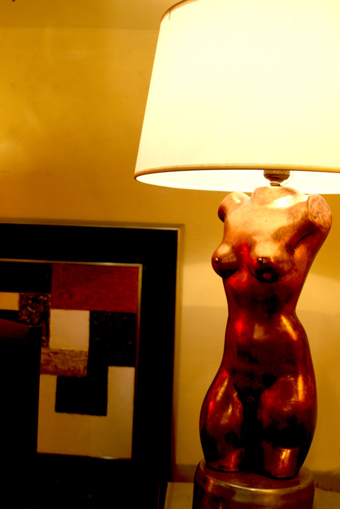 Hiden Galleries: artist-made copper torso lamp