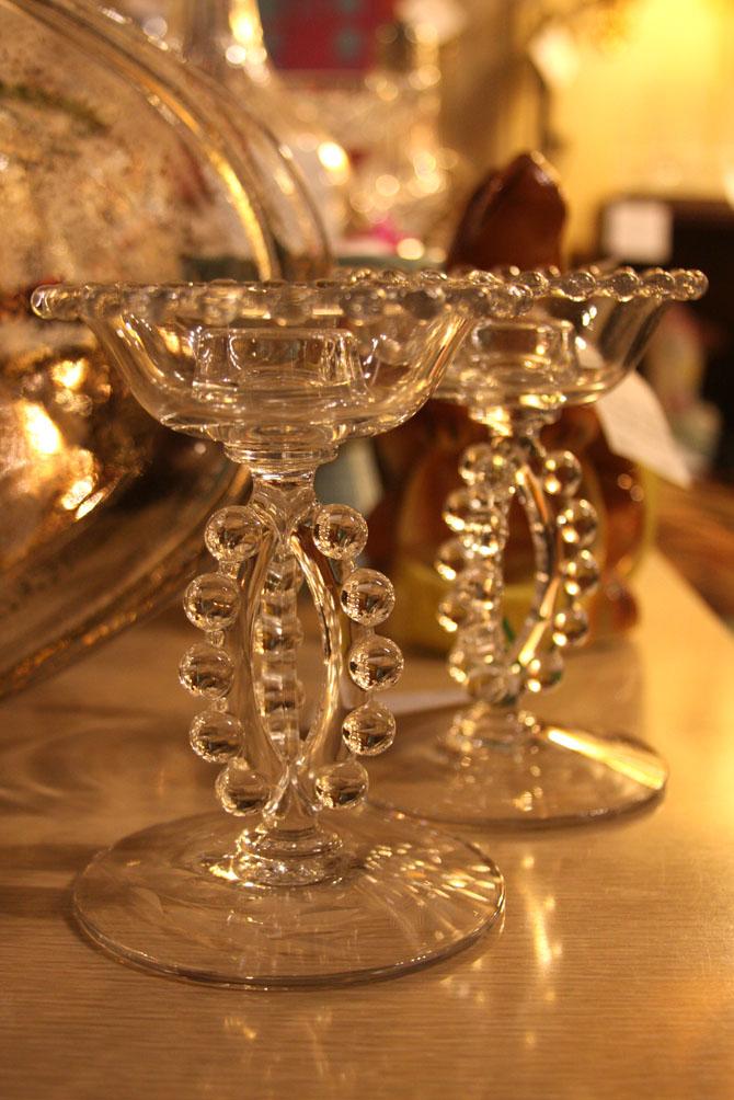 Hiden Galleries: pair of candlewick, 3-bead candlesticks