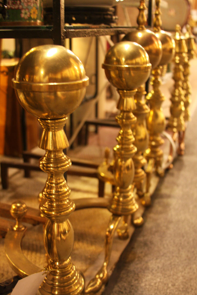 Hiden Galleries: 19th- and early 20th-century solid brass andirons