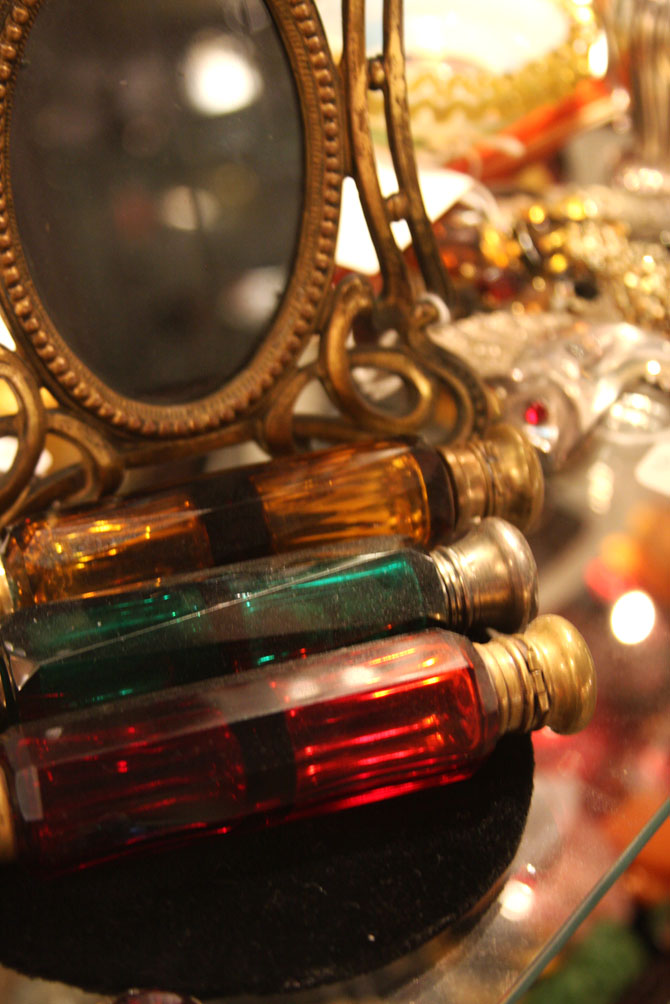 Hiden Galleries: Art Nouveau mirror and doubled-sided perfume bottles in red, amber and green