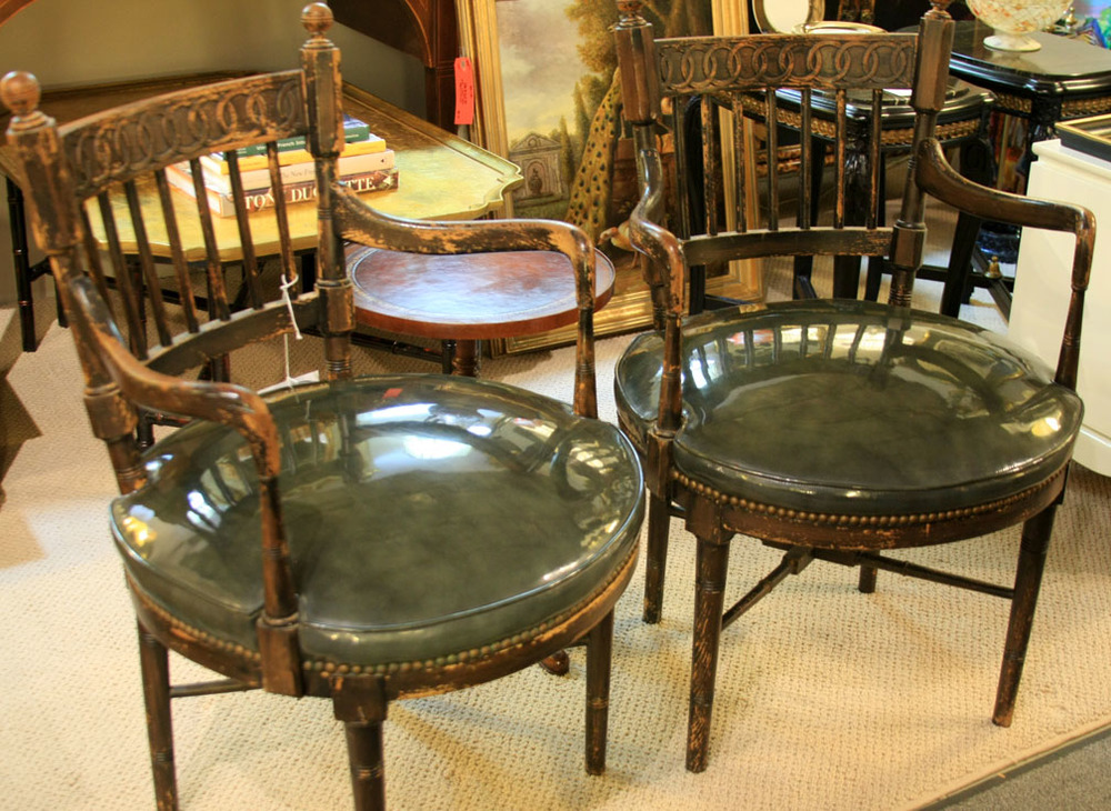 Hiden Galleries: pair of captain's chairs from the viewing area of a riding ring on a private estate in Bedford