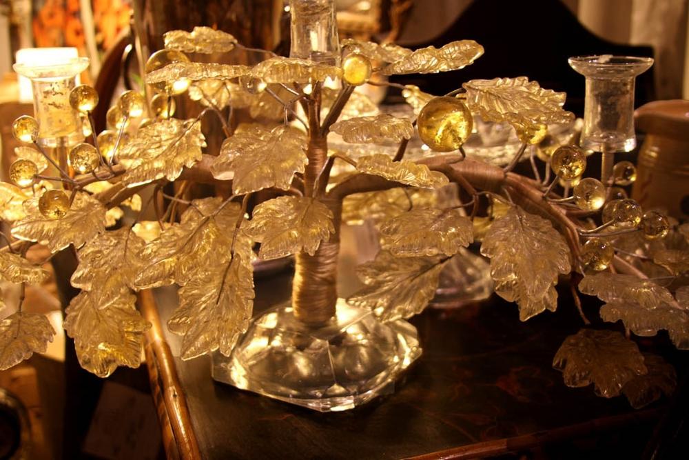 Hiden Galleries: vintage Czech glass 3-arm candelabra