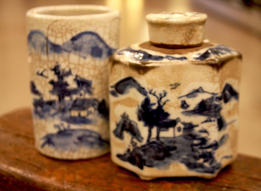 Hiden Galleries: 18th-century brush pot, 18th-century teapot