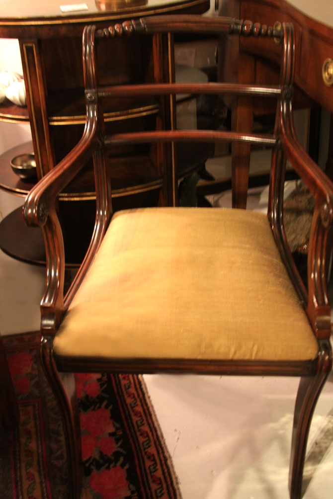 Hiden Galleries: one of pair of antique Regency chairs with sage silk seats